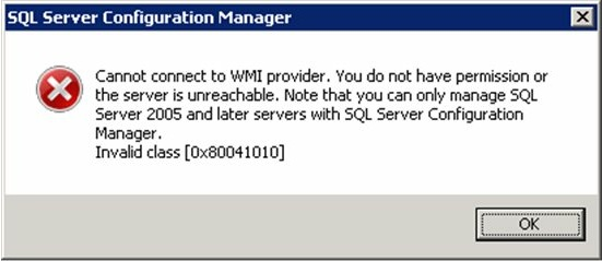 Cannot connect to WMI provider. You do not have permission or the server is unreachable.